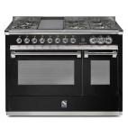 Piano de cuisson Steel Ascot 120 cm  2 fours dont un vapeur, 4 feux gaz, un grill barbecue et une friteuse