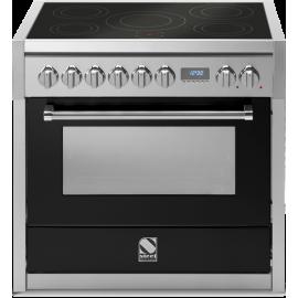 Piano de cuisson Steel Genesi 90 cm four électrique, 6 zones induction