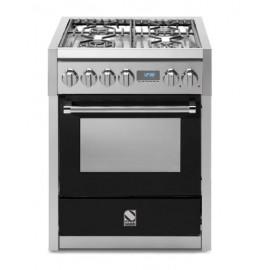Piano de cuisson Steel Genesi 70 cm four électrique, 4 feux gaz dont un wok