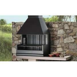 Barbecue bois PALMA-75 inox porche