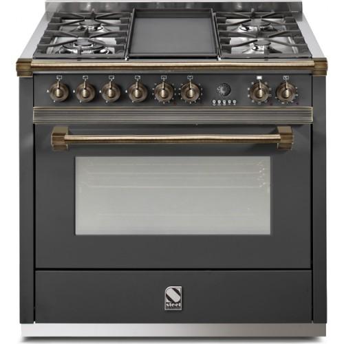 Piano de cuisson STEEL ASCOT 90 Gaz Electrique, four vapeur D Charby Poelesà granulés, Po u00eales  # Piano De Cuisson Bois
