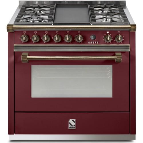 Piano de cuisson steel ascot 90 gaz electrique four vapeur d charby poeles - Piano de cuisson gaz ...