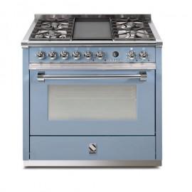 Piano de cuisson Steel Ascot 90 cm four vapeur , 4 feux gaz dont un wok et une plancha