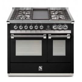 Piano de cuisson Steel Ascot 100 cm  2 fours, 4 feux gaz et une plancha