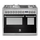Piano de cuisson Steel Genesi 120 cm 2 fours, 4 feux gaz, 1 megawok, 1 grill barbecue électrique