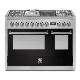 Piano de cuisson Steel Genesi 120 cm 2 fours dont un vapeur, 4 feux gaz, une plancha et un méga wok