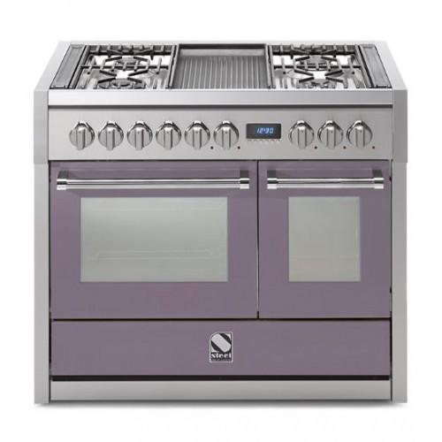 Piano de cuisson Steel Genesi 100 cm 2 fours, 4 feux gaz et un grill pierre de lave