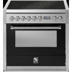 Piano de cuisson Steel Genesi 90 cm four vapeur, 4 feux gaz et un méga wok