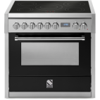 Piano de cuisson Steel Genesi 90 cm four électrique, 6 feux gaz dont 2 woks