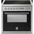 Piano de cuisson Steel Genesi 90 cm four électrique, 4 feux gaz et un méga wok