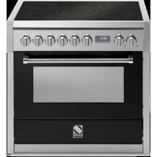 Piano de cuisson Steel Genesi 90 cm four électrique, 4 feux gaz et une plancha