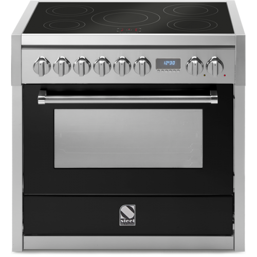 Piano de cuisson Steel Genesi 90 cm four électrique, 4 feux gaz et un grill barbecue