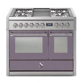 Piano de cuisson Steel Genesi 100 cm 2 fours dont un four vapeur, 4 feux gaz, un wok et une plancha