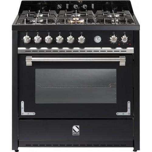 vente chaude en ligne 81bfe 27671 Piano de cuisson Steel Oxford 90 cm, avec 6 feux gaz ou 5 zones induction