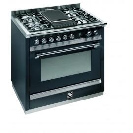 Piano de cuisson Steel Ascot 90 cm four multifonctions, 4 feux gaz et un grill pierre de lave