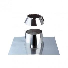 Solin inox pour toit plat avec collet anti-intempéries pour coaxial